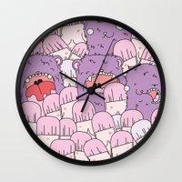 tits Wall Clocks featuring we love tits by Hugo Portinha