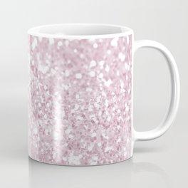 Elegant Girly Pink White Faux Glitter Coffee Mug