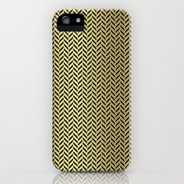 Gold Black and White Herringbone Pattern iPhone Case