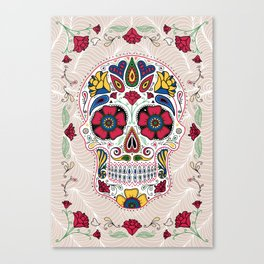 Day of the Dead Sugar Skull Light Canvas Print