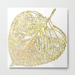 Gold Leaf Skeleton Metal Print