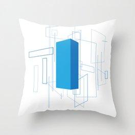 Blueprint #3 (blue) Throw Pillow