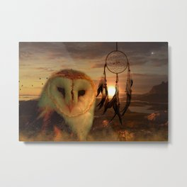 Dream Catcher and Magic Owl Metal Print
