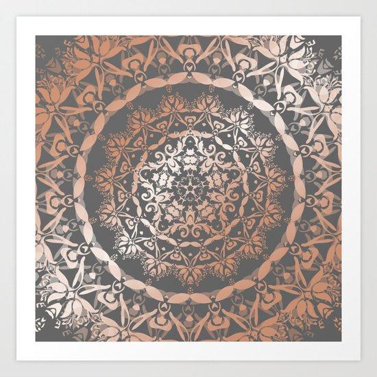 Rose Gold Gray Floral Mandala Art Print