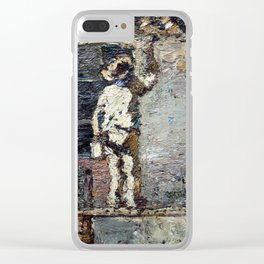 Adolphe Monticelli - A Painter at Work on a House  Wall Clear iPhone Case