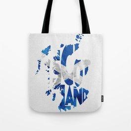 Scotland Typographic Flag / Map Art Tote Bag