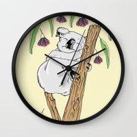koala Wall Clocks featuring Koala by Madmi