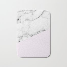 Real White Marble Half Baby Pink Modern Abstract Shapes Bath Mat