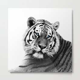 Black and white fractal tiger Metal Print