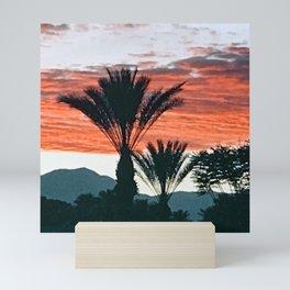 Palm Springs, California Palm Trees & Mountains at Sunset Mini Art Print