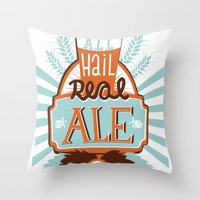 ale giorgini Throw Pillows featuring All Hail Real Ale by Kerry Hyndman