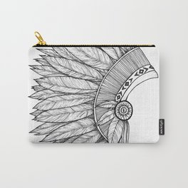 Native Feather Headdress - ink illustration Carry-All Pouch