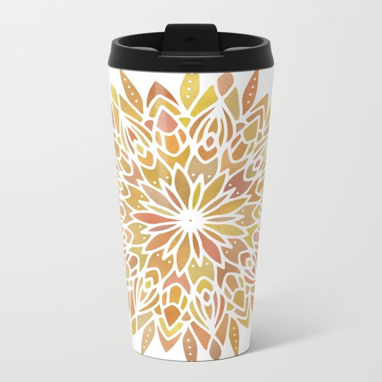 Mandala Desert Copper Gold Metal Travel Mug