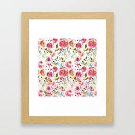 blush pink peonies watercolor fuchsia flowers Gerahmter Kunstdruck