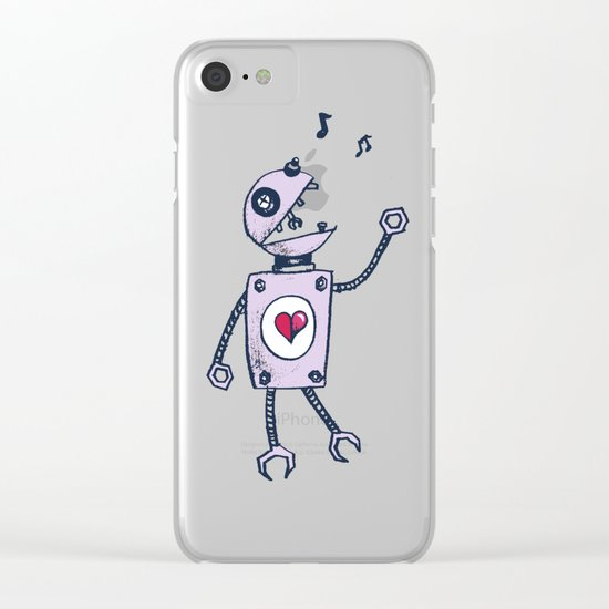 Happy Cartoon Singing Robot Clear iPhone Case