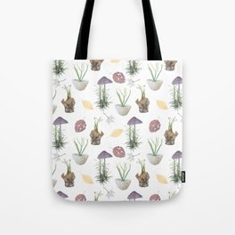 Mushrooms, spurge, horsetail, lily of the valley, leaves. Tote Bag
