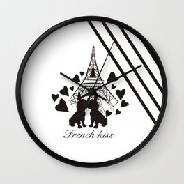 French (bulldogs) kiss in Paris Wall Clock