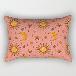 Folk Moon and Star Print Rectangular Pillow