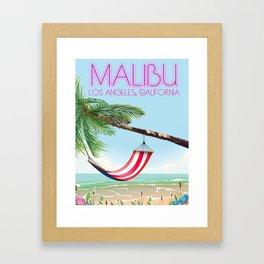 Malibu Los Angeles California Hammock travel poster. Framed Art Print
