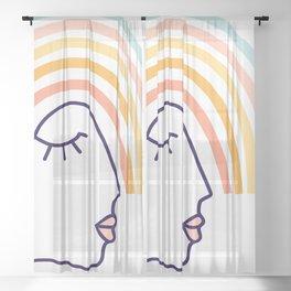 Rainbow Head #lineart Sheer Curtain