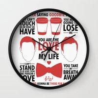 kurt rahn Wall Clocks featuring Kurt & Blaine  by Zara Yow