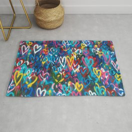 Graffiti Hearts Love (Color) Rug