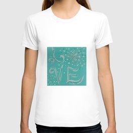 Teal Love Snowflake T-shirt