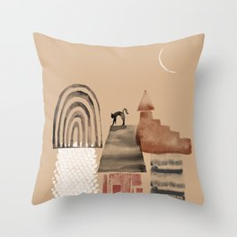 a black cat on the roof Throw Pillow