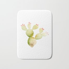 Cute Cactus - Green Succulent in Watercolor with Pink Flowers Bath Mat