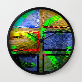 Collage with glassing effect Wall Clock