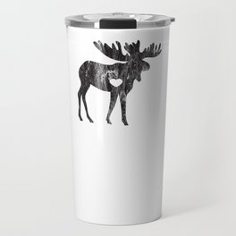 Moose Make Me Happy Cute I Love Alaska Moose Black Distressed Travel Mug