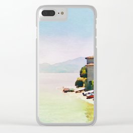 Como Lake in Watercolor Clear iPhone Case