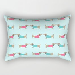 Cute dog lovers in mint background Rectangular Pillow