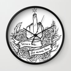 Tell Me to Smile - black and white Wall Clock