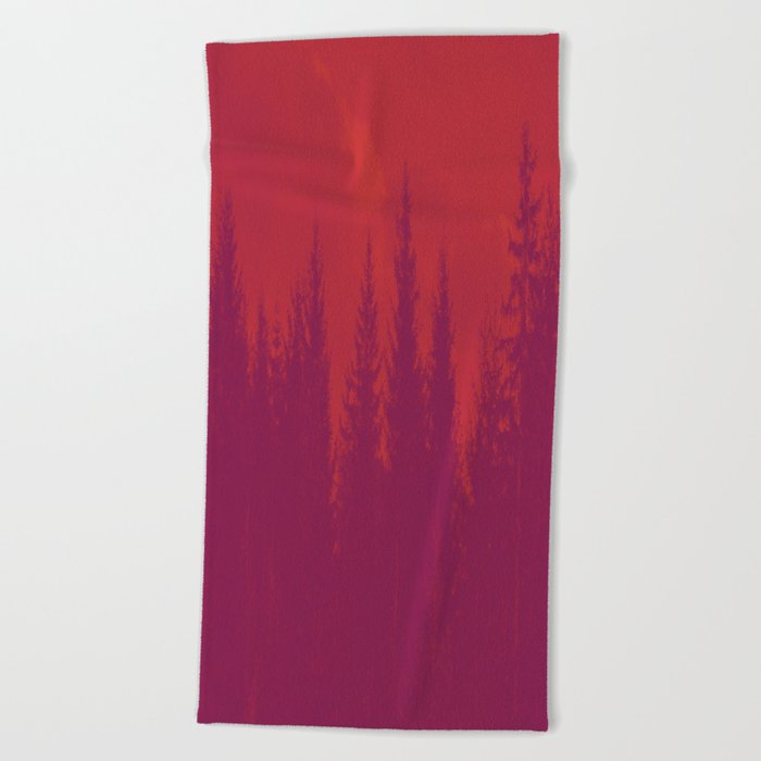 Purple Forest On Red Background #decor #society6 Beach Towel