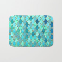 Aqua Teal Mint and Gold Oriental Moroccan Tile pattern Bath Mat