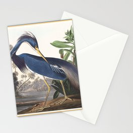 Louisiana Heron Bird Blue Yellow Painting Stationery Cards