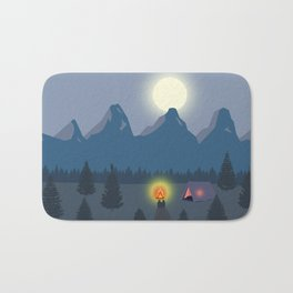 Bonfire camping in the mountains Bath Mat