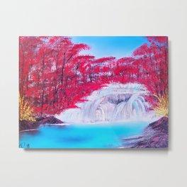 Crimson Cascade Metal Print