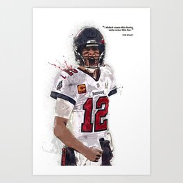 Tom Brady canvas, Tam-pa Bay Buccaneers poster for Wall Decor, Gym, Home Living, Bedroom, Office Decorations,print, mancave, splash paint Art Print