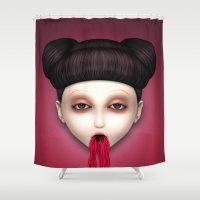 misfits Shower Curtains featuring Misfit - Sakura by Raymond Sepulveda