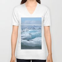 iceland V-neck T-shirts featuring Jökulsarlon Iceland by seraphina