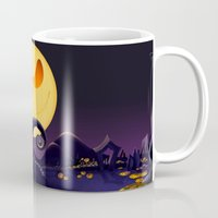 jack skellington Mugs featuring Starry Night Jack Skellington by ThreeBoys