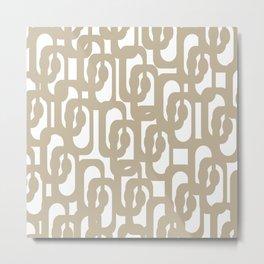 Mid Century Modern Loop Pattern in Flax and White Metal Print