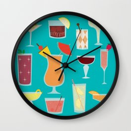 Retro Cocktails Wall Clock