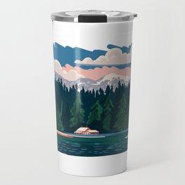 Cabin by a lake Travel Mug