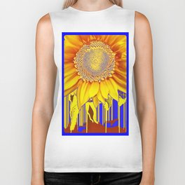 Modern Art Bright Yellow Sunflower Abstract with Royal Blue Color Accents Biker Tank