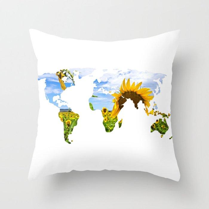 World of Sunflowers Throw Pillow