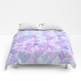 Girls Mermaid Scales Pattern, Pastel Purple and Blue Comforters
