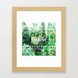 Modern typography breathe green tropical palm tree forest photography white boho geometric Framed Art Print